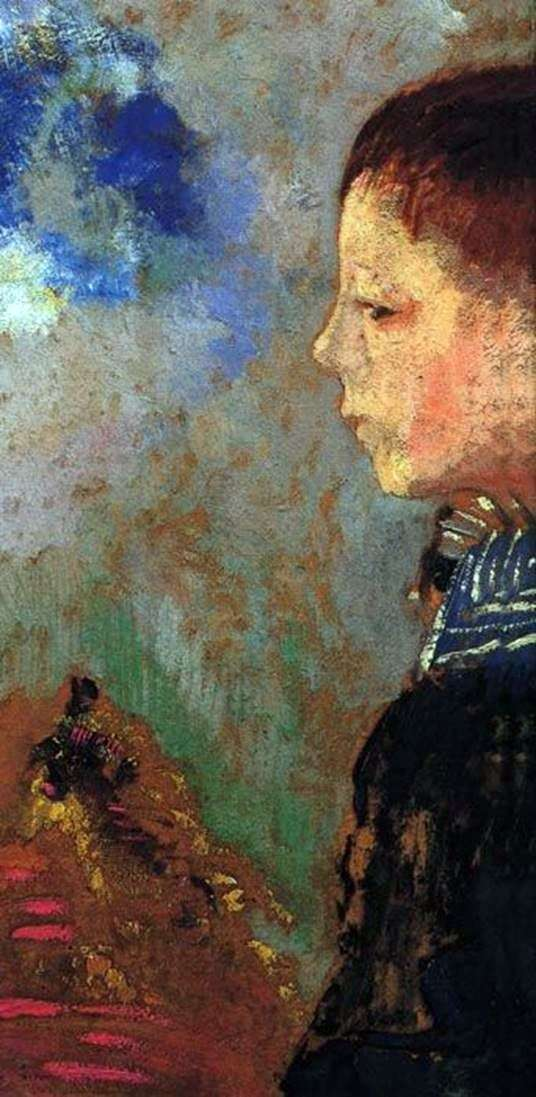 Portrait of Ari with a blue collar by Odilon Redon