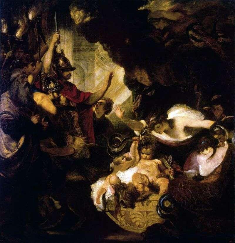 Baby Hercules Strangling Serpents by Joshua Reynolds