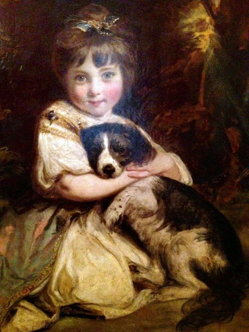 Portrait of Miss Bowles with a Dog by Joshua Reynolds
