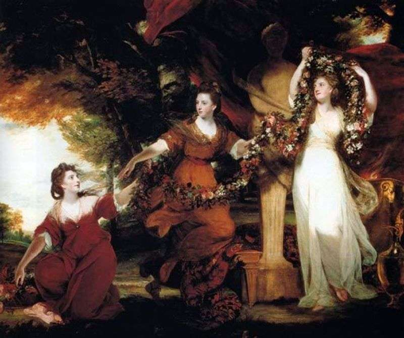 Three sisters of Montgomery in the form of graces, decorating with flowers the statue of Hymen by Joshua Reynolds