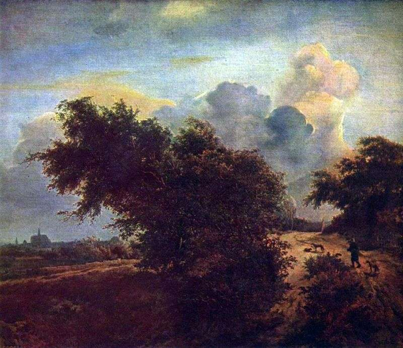 Landscape in the dunes with shrubs by Jacob van Reisdal