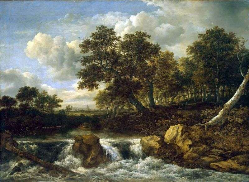 Landscape with a waterfall by Jacob van Ruisdal