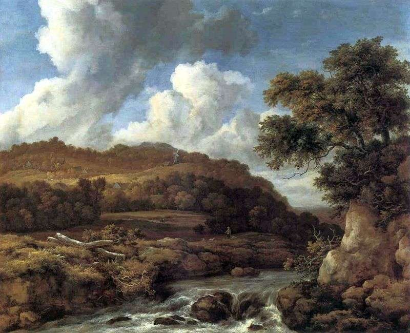 Landscape with wooded hills and stream by Jacob van Ruisdael