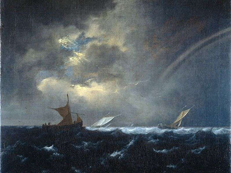 Rainbow in the stormy sea by Jacob van Ruisdal