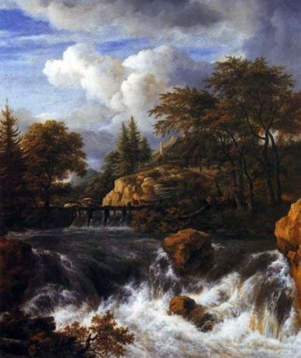 Rocky landscape with a waterfall by Jacob van Ruisdal