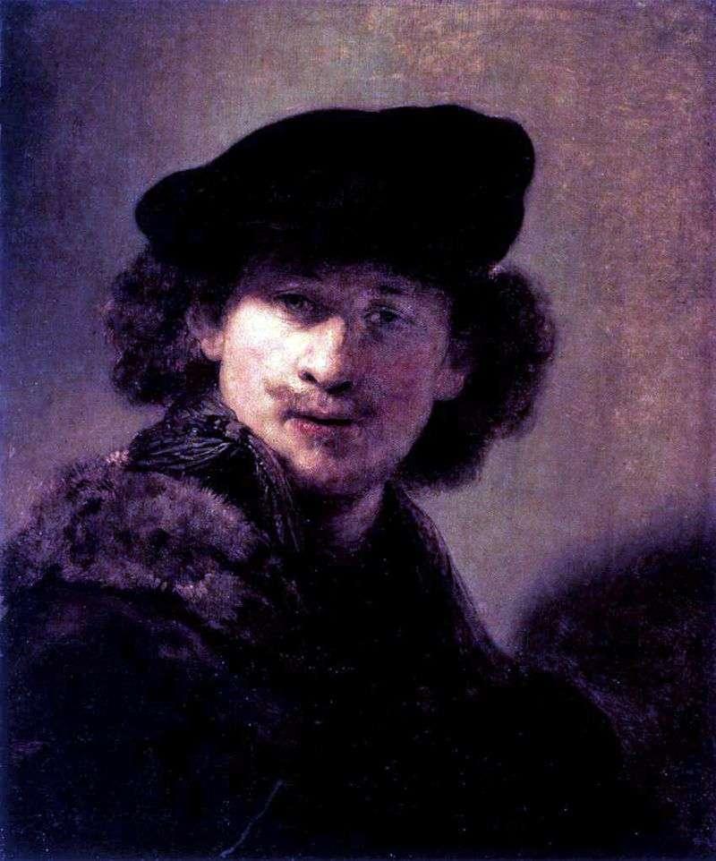 Self Portrait in Velvet Beret by Rembrandt Harmens Van Rhine
