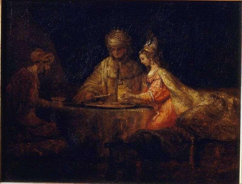 Artaxerxes, Haman and Esther by Rembrandt Harmens Van Rhine