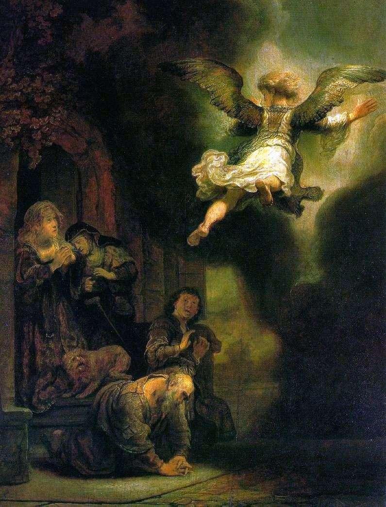 Archangel Raphael, leaving the family of Tobiah by Rembrandt Harmens Van Rhine