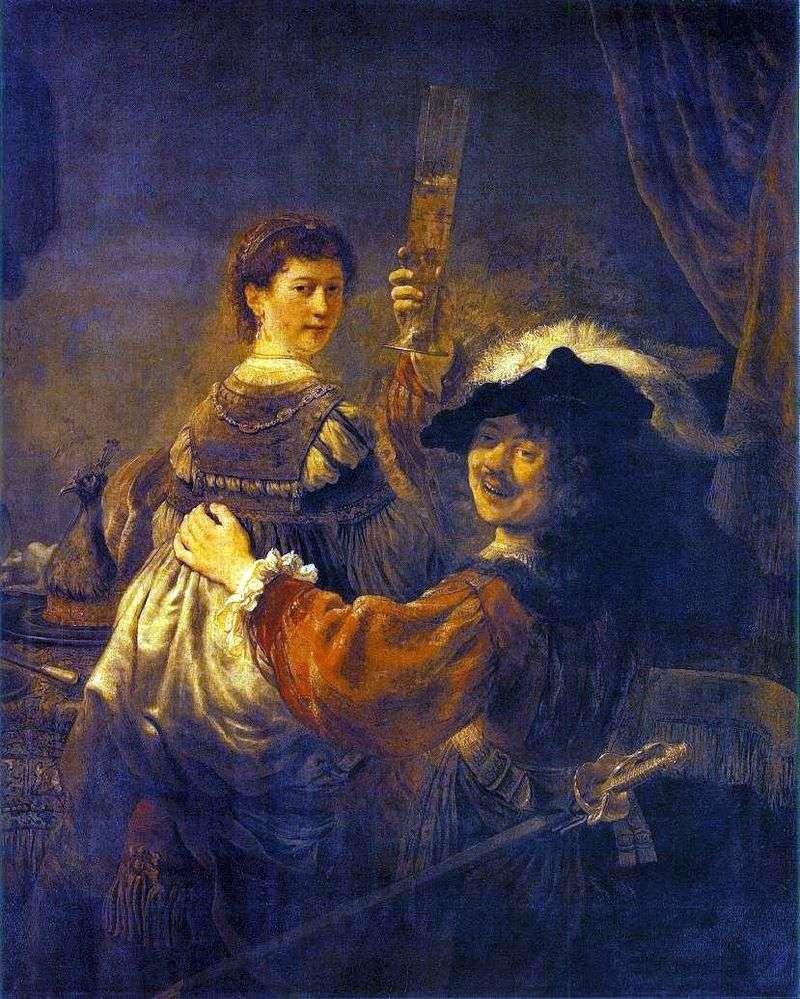 Fun Society (Self Portrait with Saskia on Your Lap) by Rembrandt Harmens Van Rhine