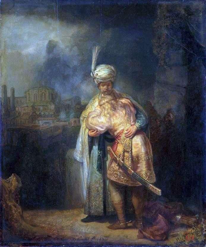 David and Jonathan by Rembrandt Harmens Van Rhine