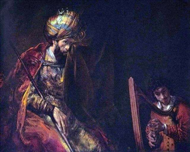David plays king Saul by Rembrandt Harmens van Rhine