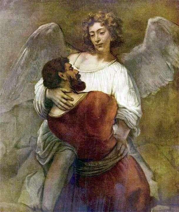 Jacob wrestles with the angel by Rembrandt Harmens Van Rhine