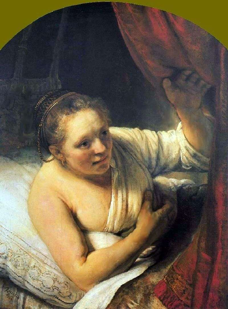 Young Woman in Bed by Rembrandt Harmens Van Rhine