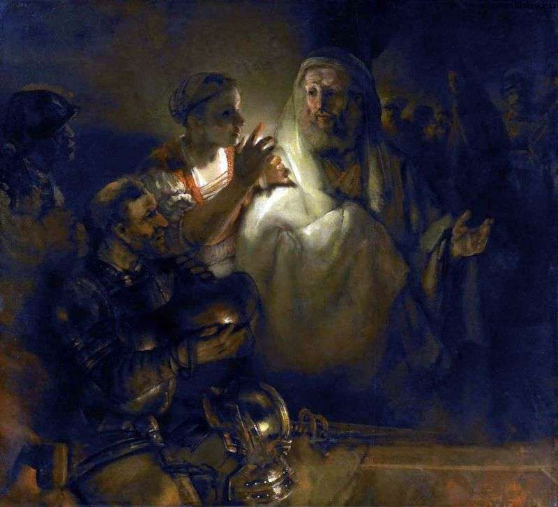 Renunciation of the Apostle Peter by Rembrandt Harmens Van Rhine