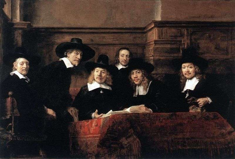 Portrait of Syndicus cloth shop by Rembrandt Harmens Van Rhine
