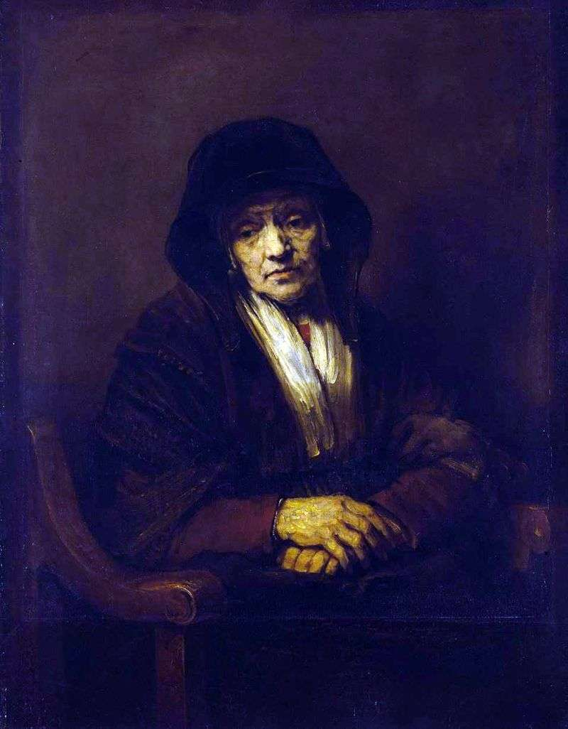 Portrait of an Old Woman by Rembrandt Harmens Van Rhine