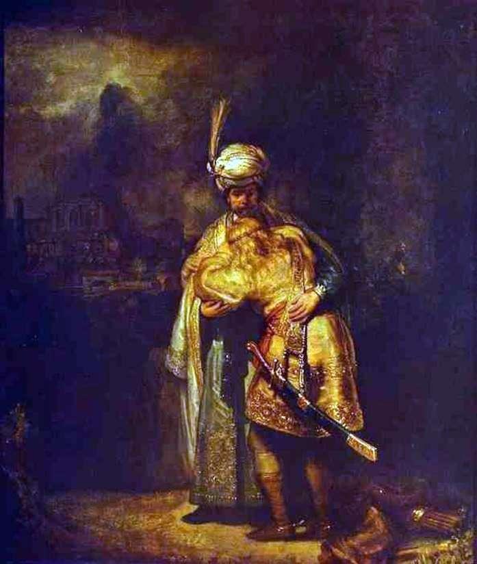 Davids Farewell to Jonathan by Rembrandt Harmens Van Rhine