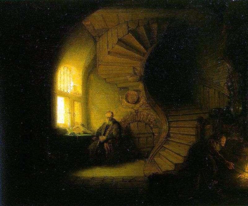 Philosopher Meditating in His Room by Rembrandt Harmens Van Rhine