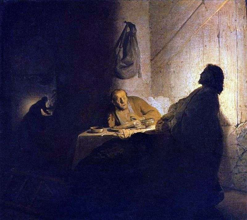Christ and the Disciples at Emmaus by Rembrandt Harmens Van Rhine