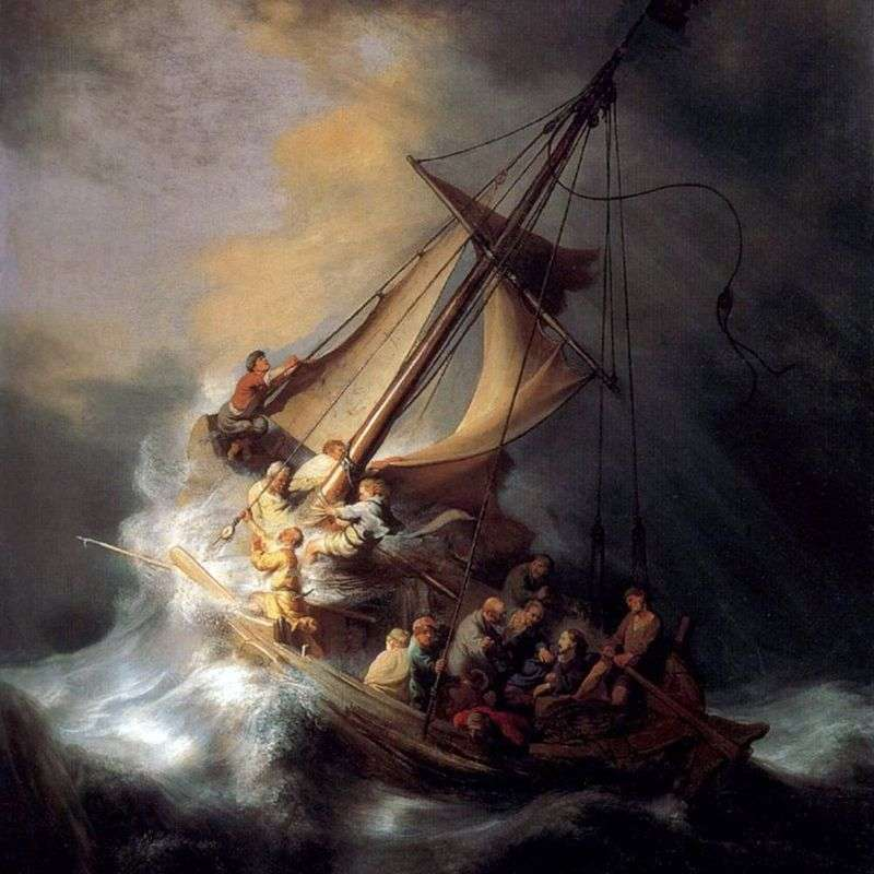 Shuttle of Christ in a Storm by Rembrandt Harmens Van Rhine