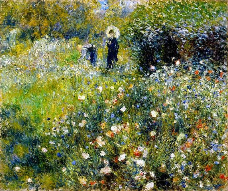 Woman with an umbrella in the garden by Pierre Auguste Renoir