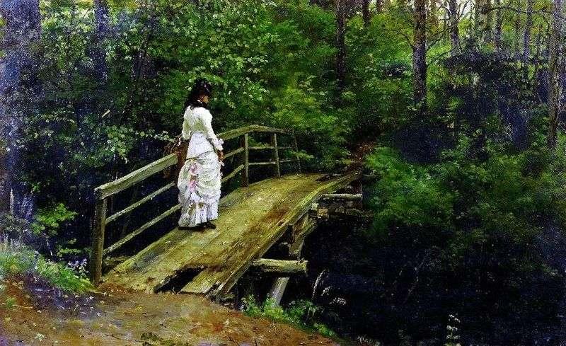 Vera Repin on the bridge in Abramtsevo by Ilya Repin