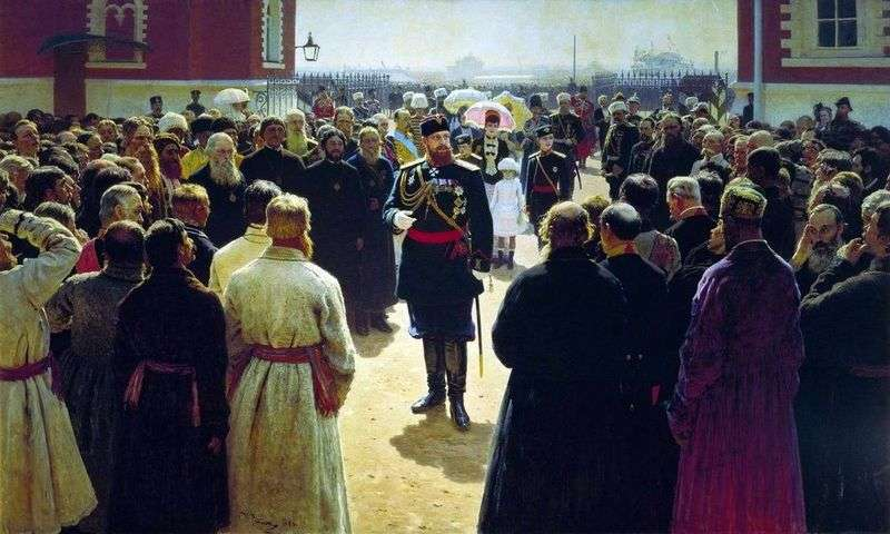 Reception of volost foremen by Emperor Alexander III in the courtyard of the Petrovsky Palace in Moscow by Ilya Repin