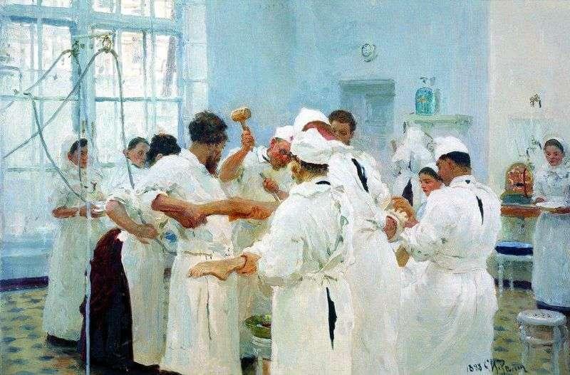 Surgeon E. V. Pavlov in the operating room by Ilya Repin
