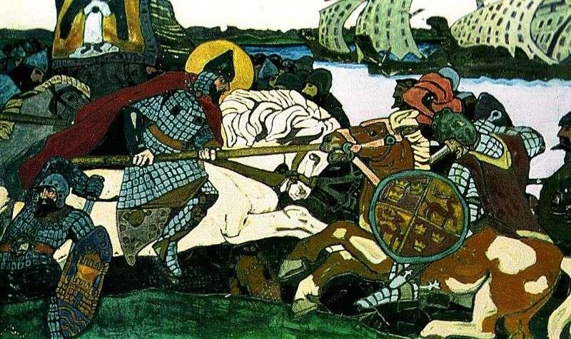 Alexander Nevsky strikes Jarl Birger by Nikolai Roerich