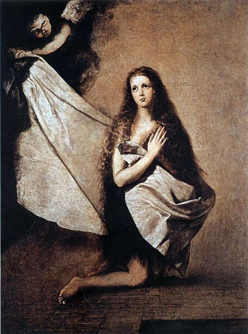 Holy Inessa and the angel covering her with a veil by Jusepa Ribera