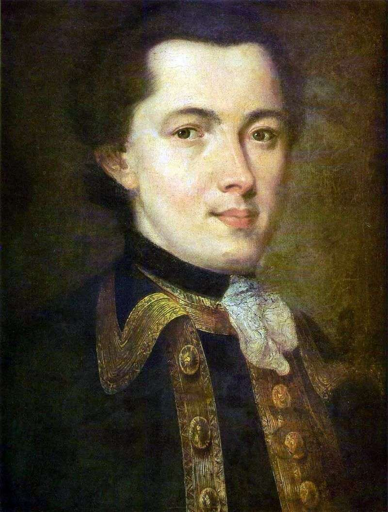 Portrait of an Unknown Young Man in Guards Uniform by Fedor Rokotov