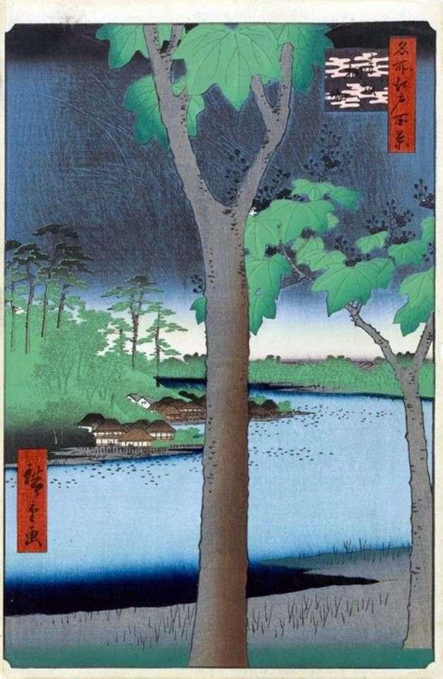 Akasaka, Plantación de Pavlovian   Utagawa Hiroshige