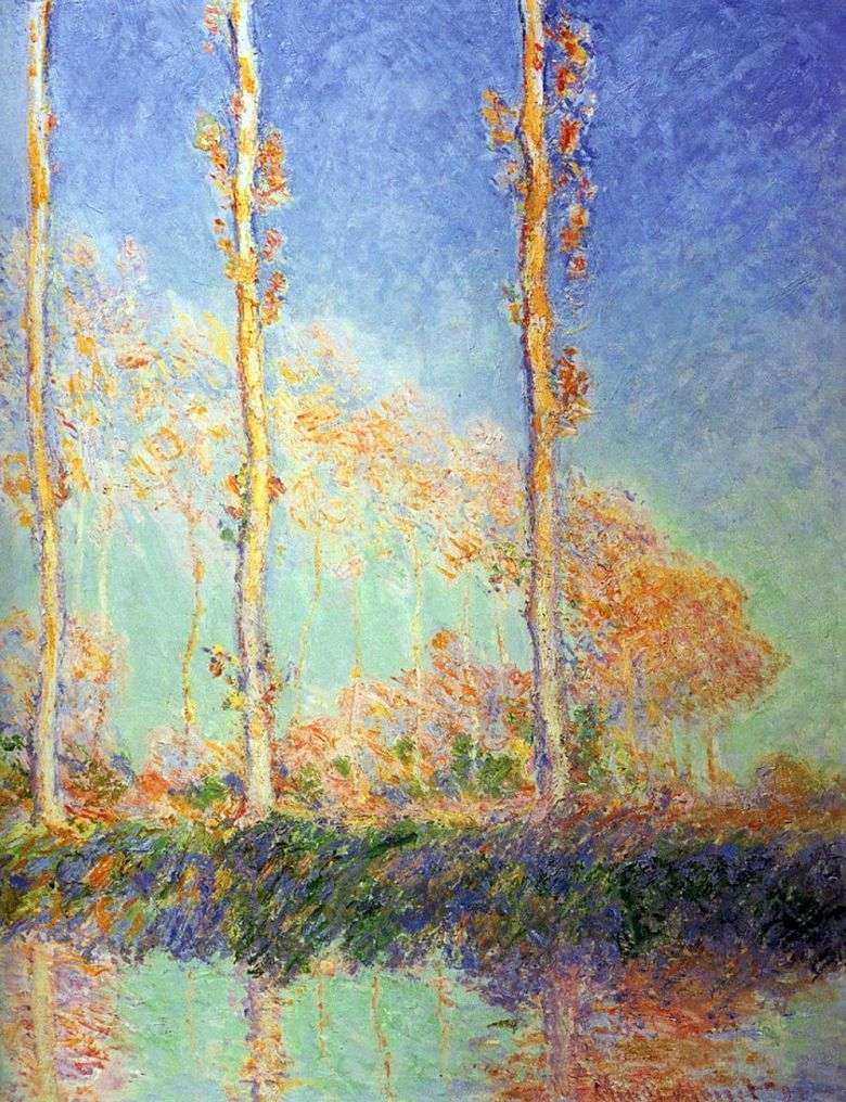 Álamos, tres árboles rosados en otoño   Claude Monet