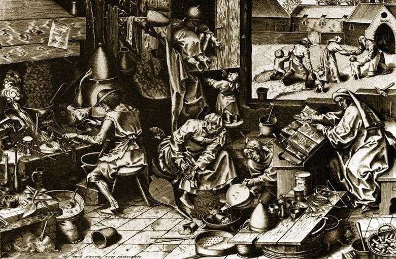 Alquimista Grabado   Peter Bruegel
