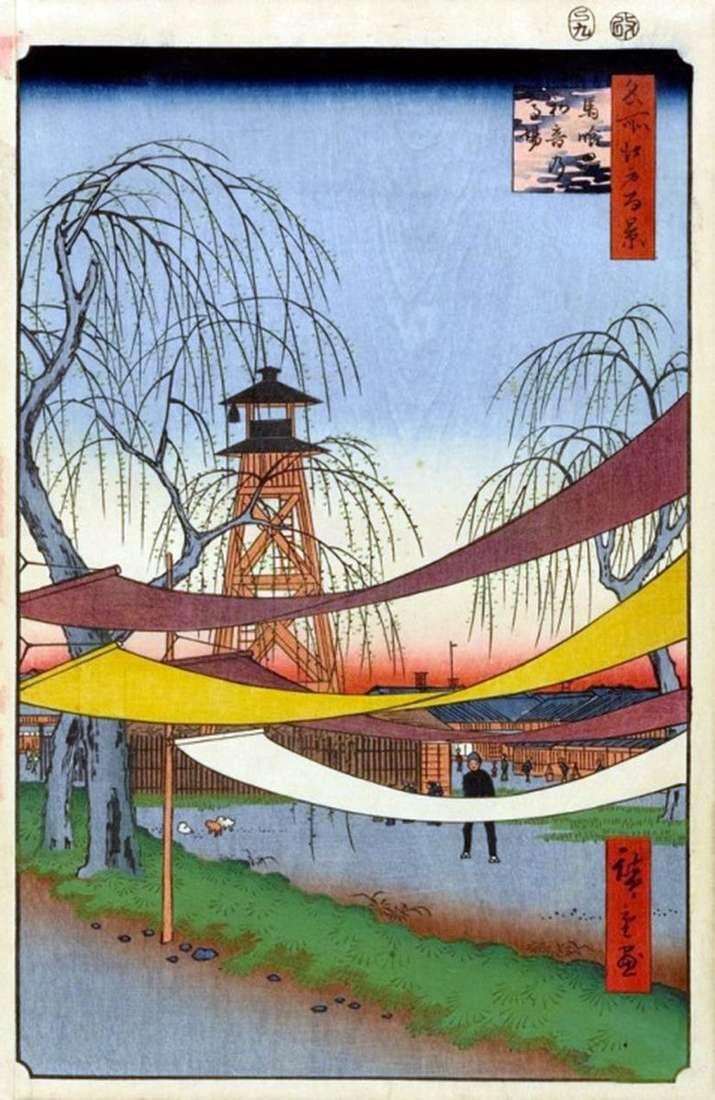 Anillo de carrera Hatsune en el barrio de Bakurote   Utagawa Hiroshige