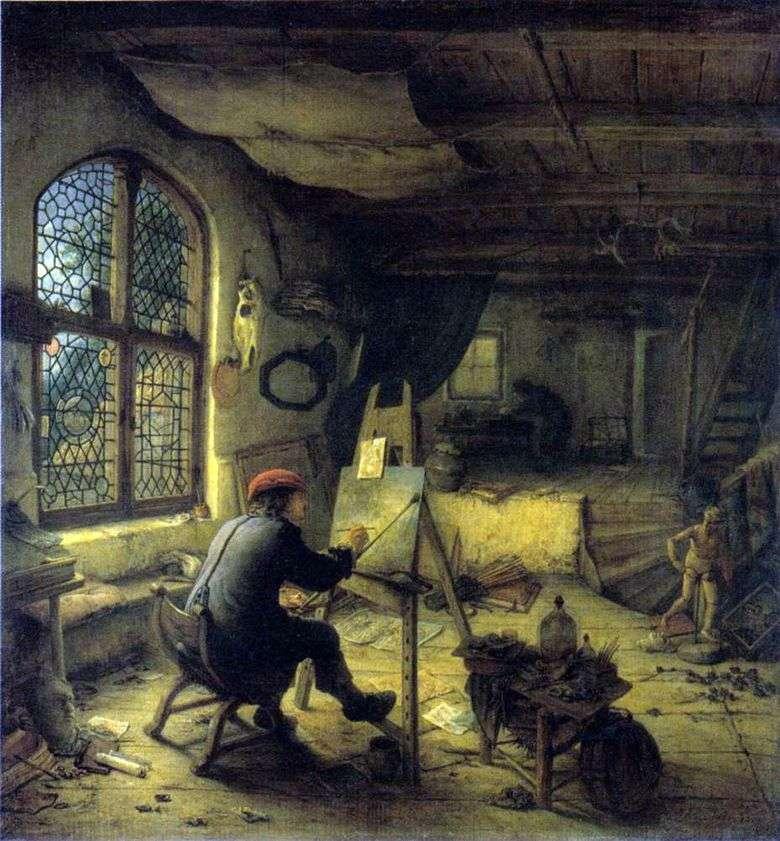 Artista en el taller   Adrian van Ostade
