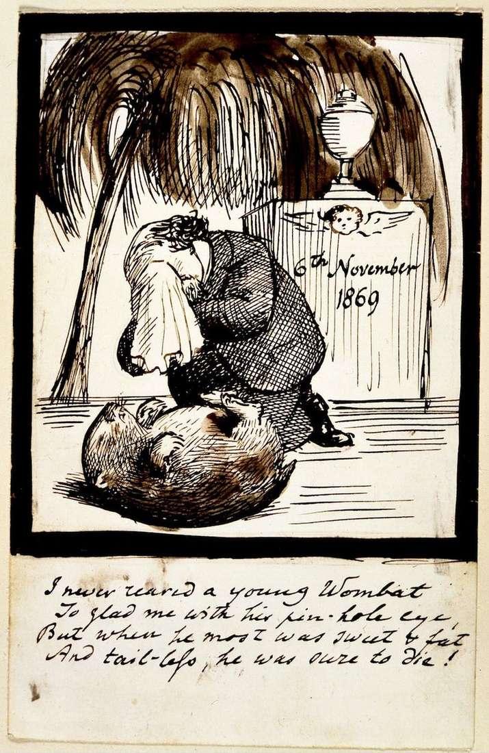 Autorretrato de un artista llorando en la tumba de un wombat   Dante Rossetti