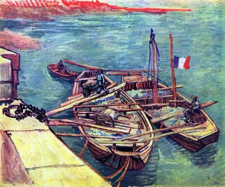 Barcas con arena en el muelle   Vincent van Gogh