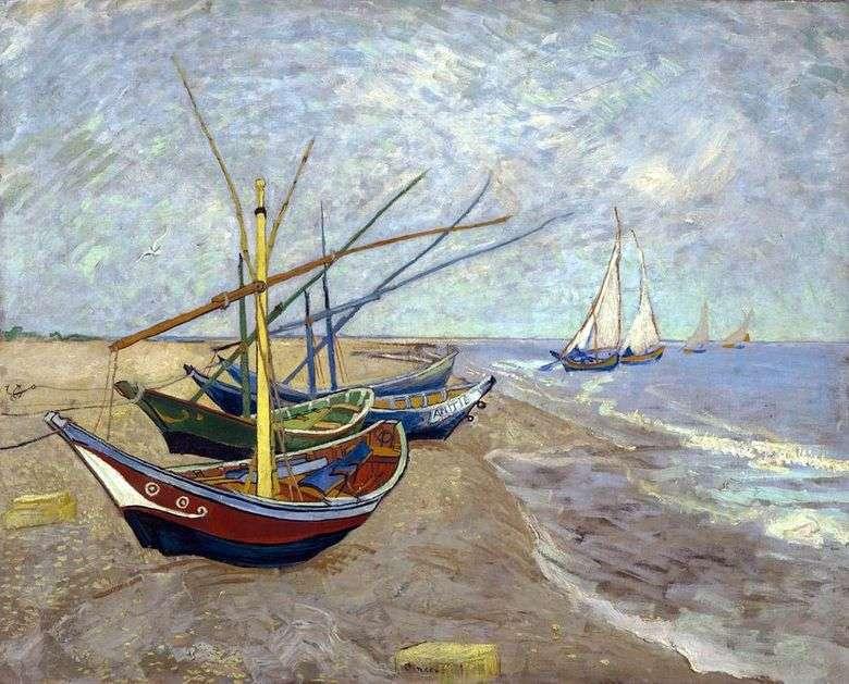 Barcos de pesca en la playa de Sainte Marie   Vincent Van Gogh
