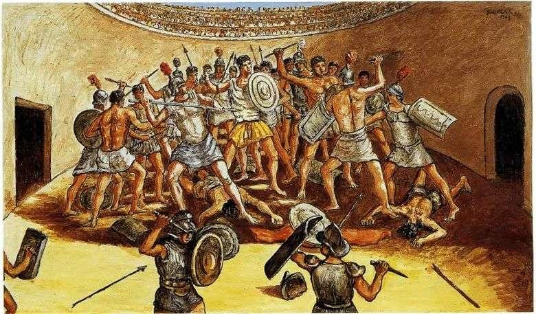 Batalla de gladiadores en la arena   Giorgio de Chirico