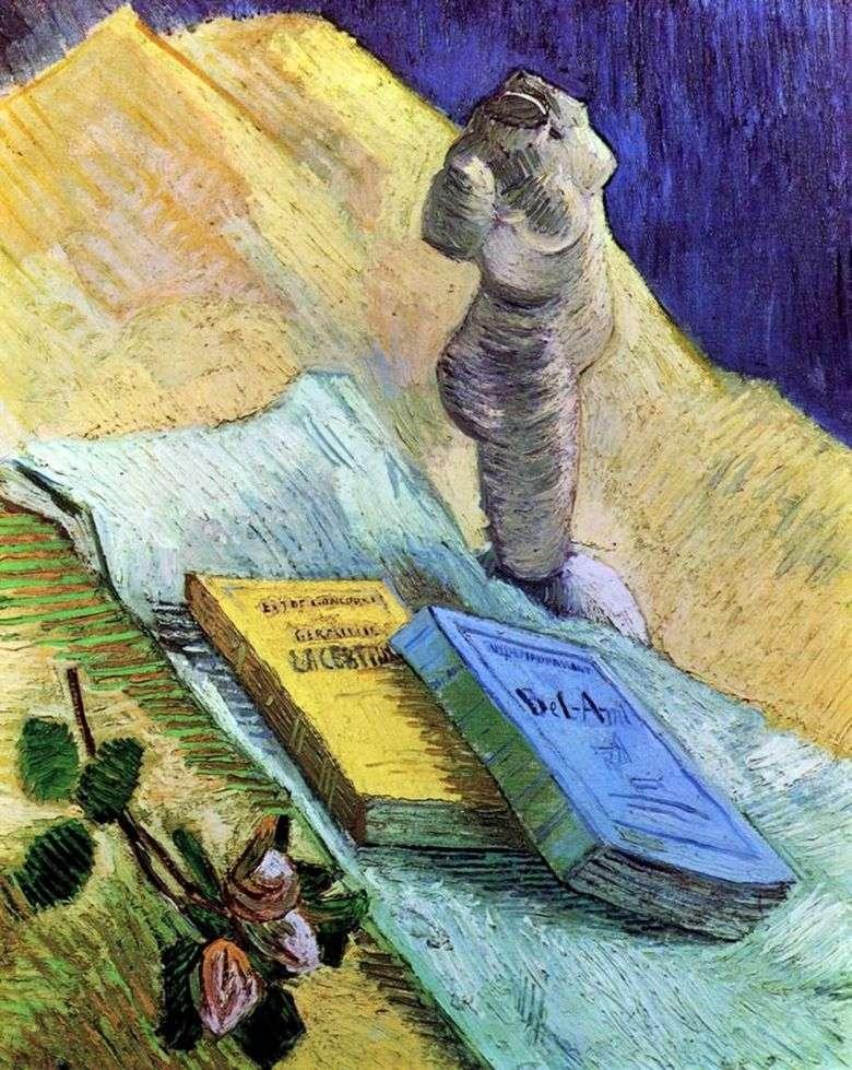 Bodegón con una estatuilla de yeso, una rosa y dos novelas   Vincent van Gogh