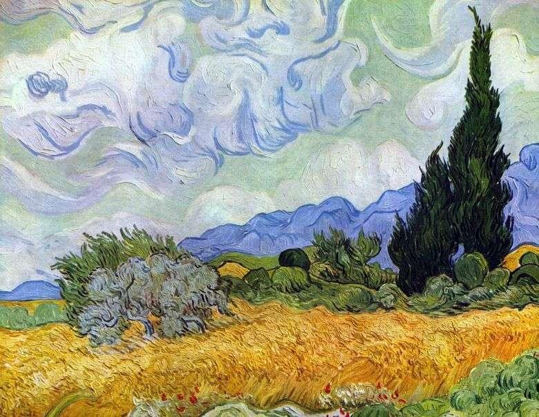 Campo de trigo con cipreses   Vincent van Gogh