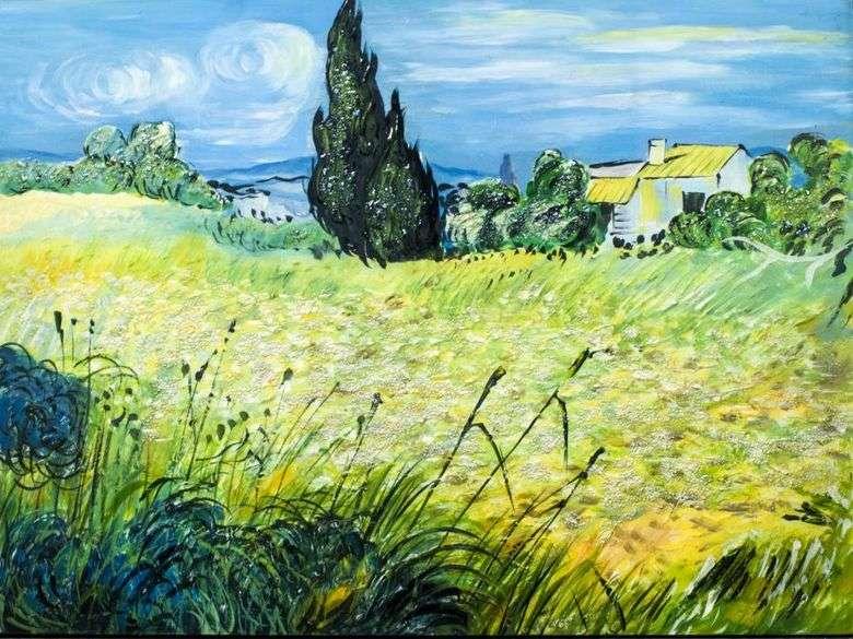 Campo de trigo verde con ciprés   Vincent van Gogh