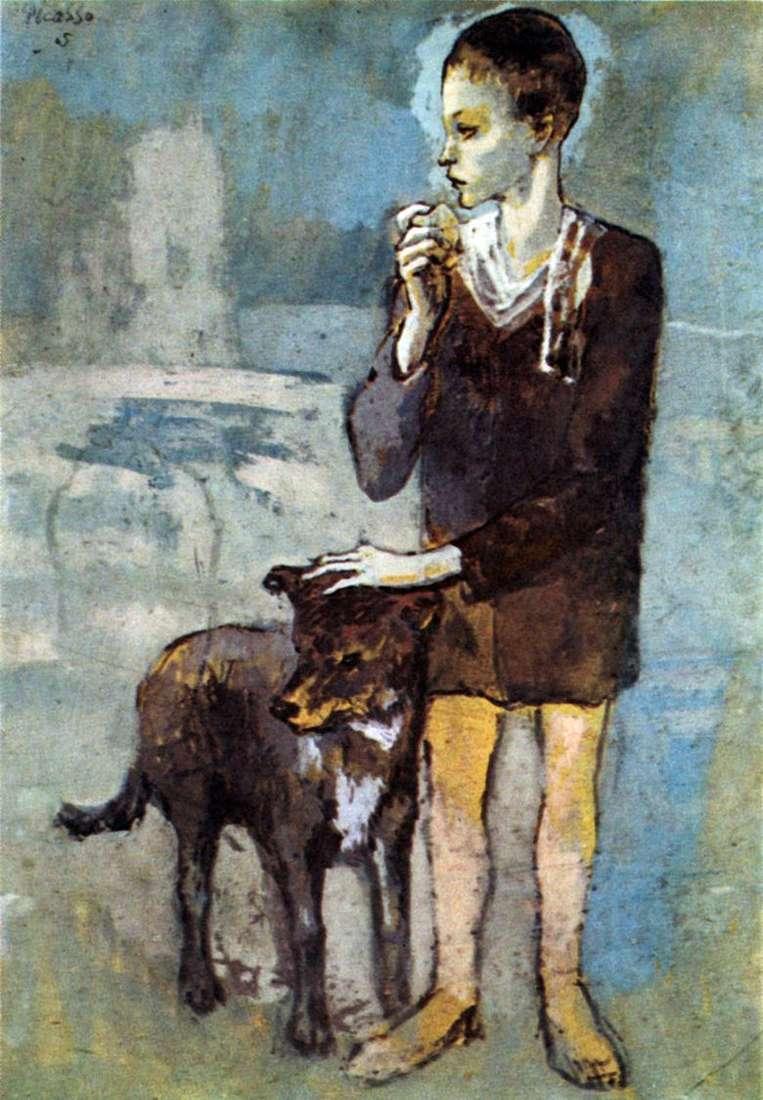 Chico con un perro – pablo picasso