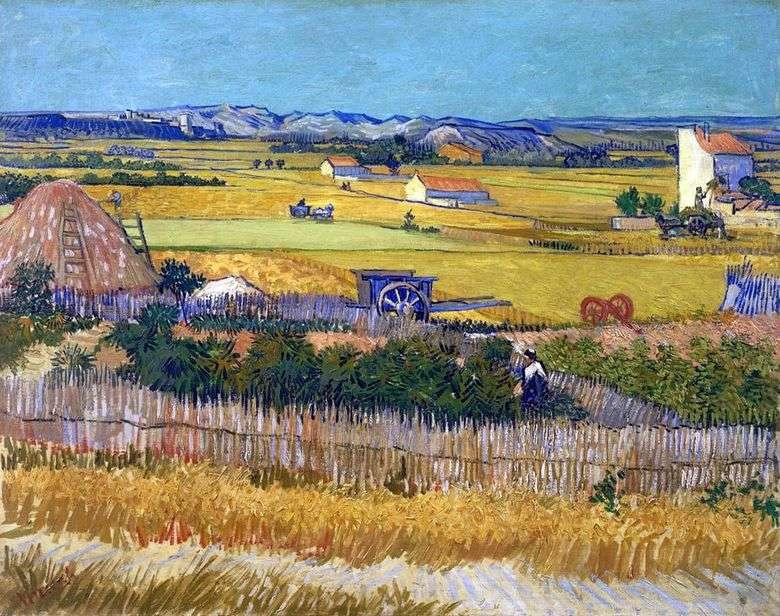 Cosecha en La Croce y Montmajor en el fondo (cosecha)   Vincent Van Gogh