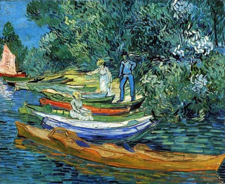 Costa con barcos en Auvers en el río Oise   Vincent Van Gogh