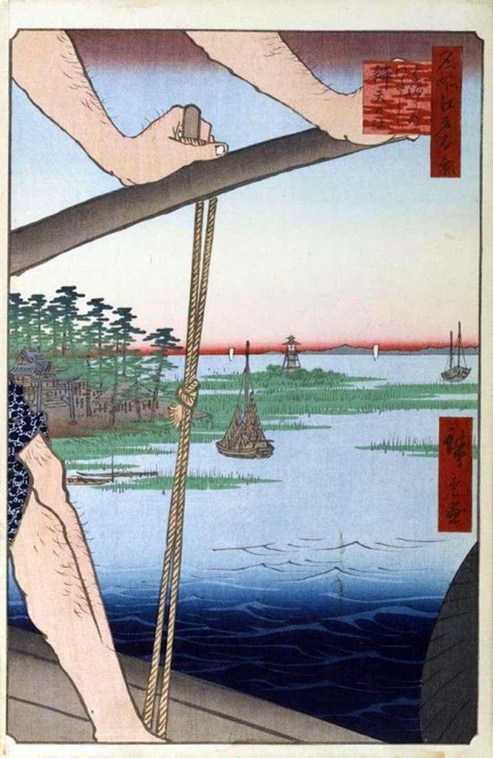 Cruce de Haneda, Santuario de Banten   Utagawa Hiroshige