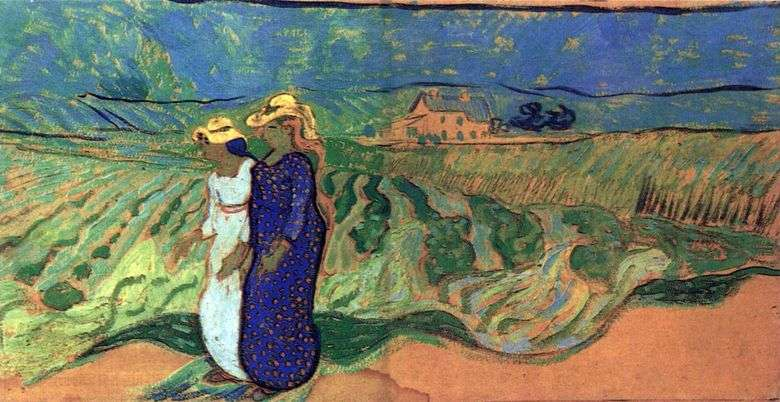 Dos mujeres caminando en un campo   Vincent van Gogh