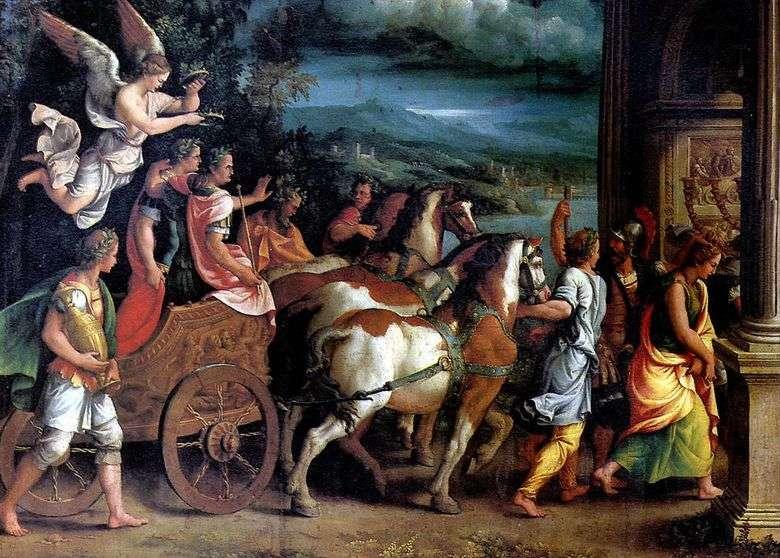 El triunfo de Tito y Vespasiano   Giulio Romano