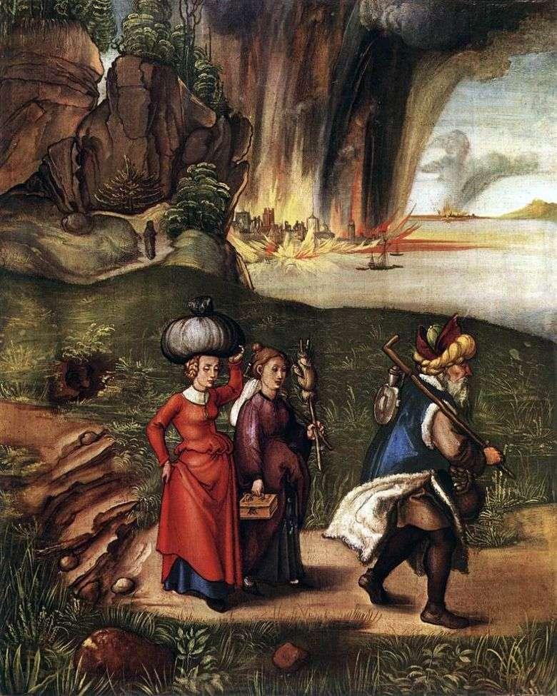 El vuelo de Lot con sus hijas de Sodoma   Albrecht Dürer